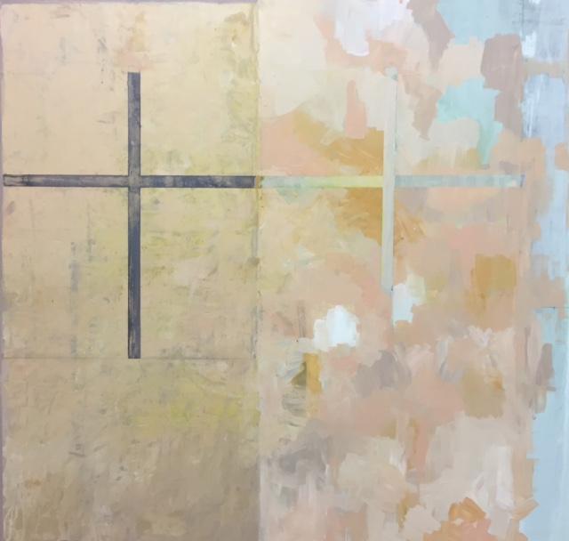 "Windows painting,  2016-17. Acrylic, acrylic polymer and graphite on wood panel. 43-7/8""x45-1/2"""