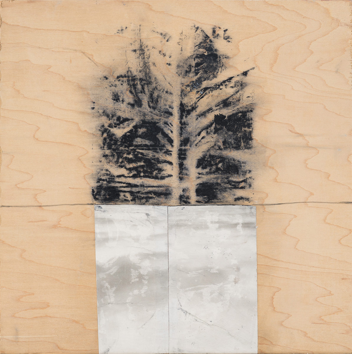"""Landscape (black and white),  2015. Acrylic, acrylic polymer and graphite on wood panel. 12""""x12"""""""