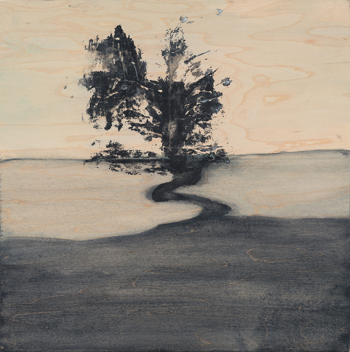 """Landscape (black),  2015. Acrylic and graphite on wood panel. 12""""x12"""""""