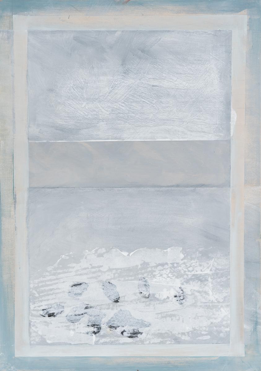 "Window with grey sky , 2016. Acrylic and graphite on wood panel. 24-5/8""x17-1/4"""