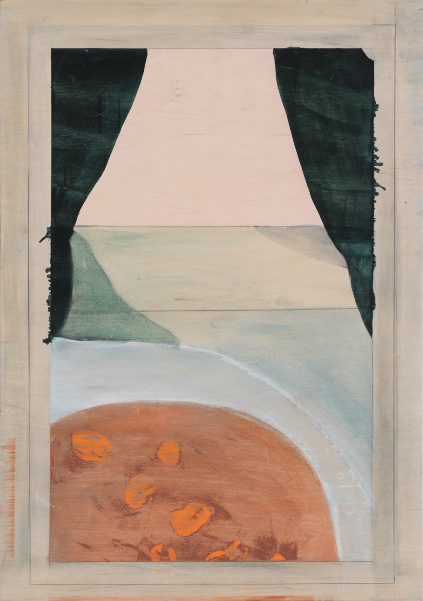 """Table with orange peels at window , 2016. Acrylic and graphite on wood panel. 24-1/2""""x17-3/8"""""""
