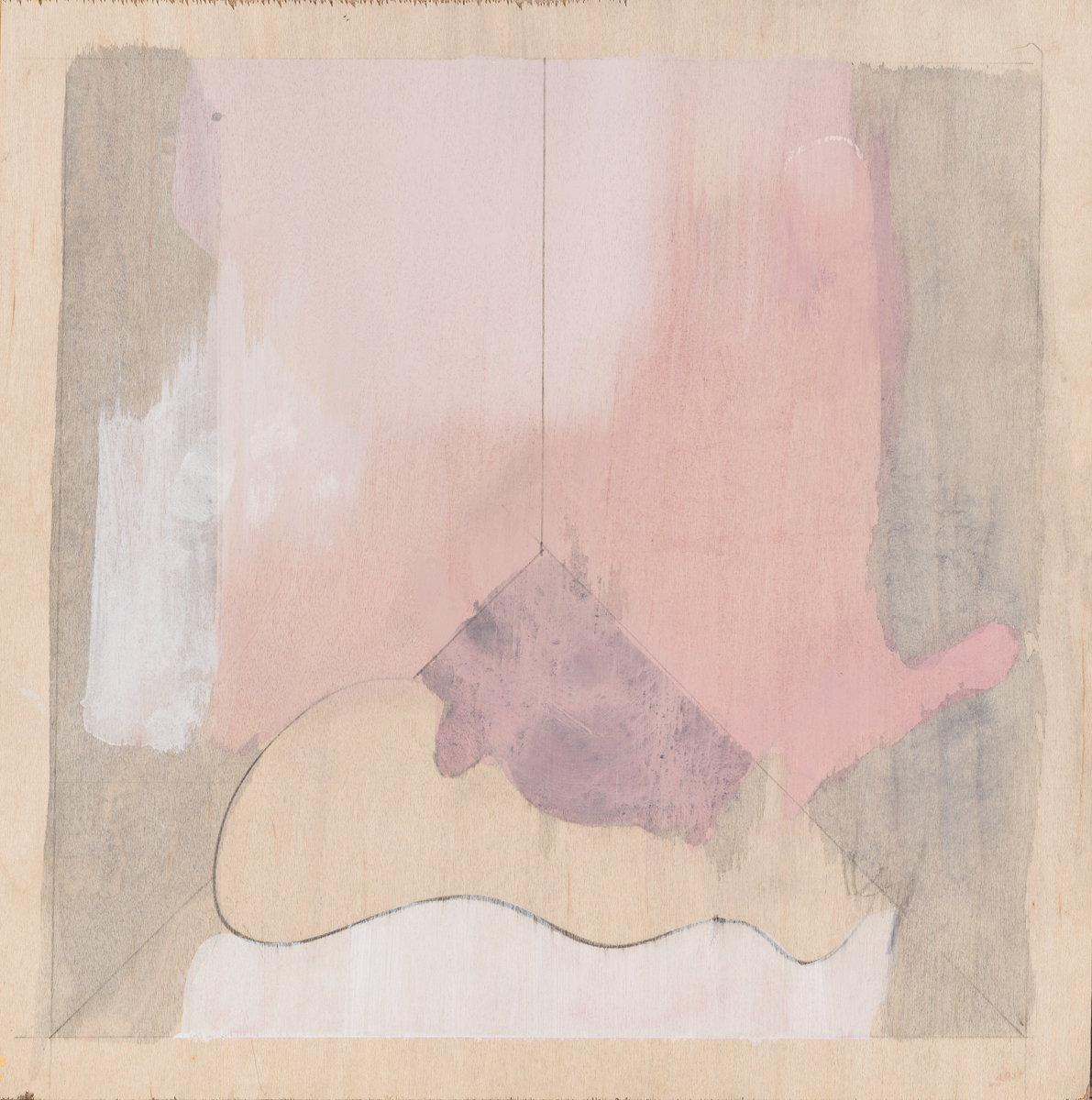 """Pink Room , 2016. Acrylic and graphite on wood panel. 11-7/8""""x12"""""""