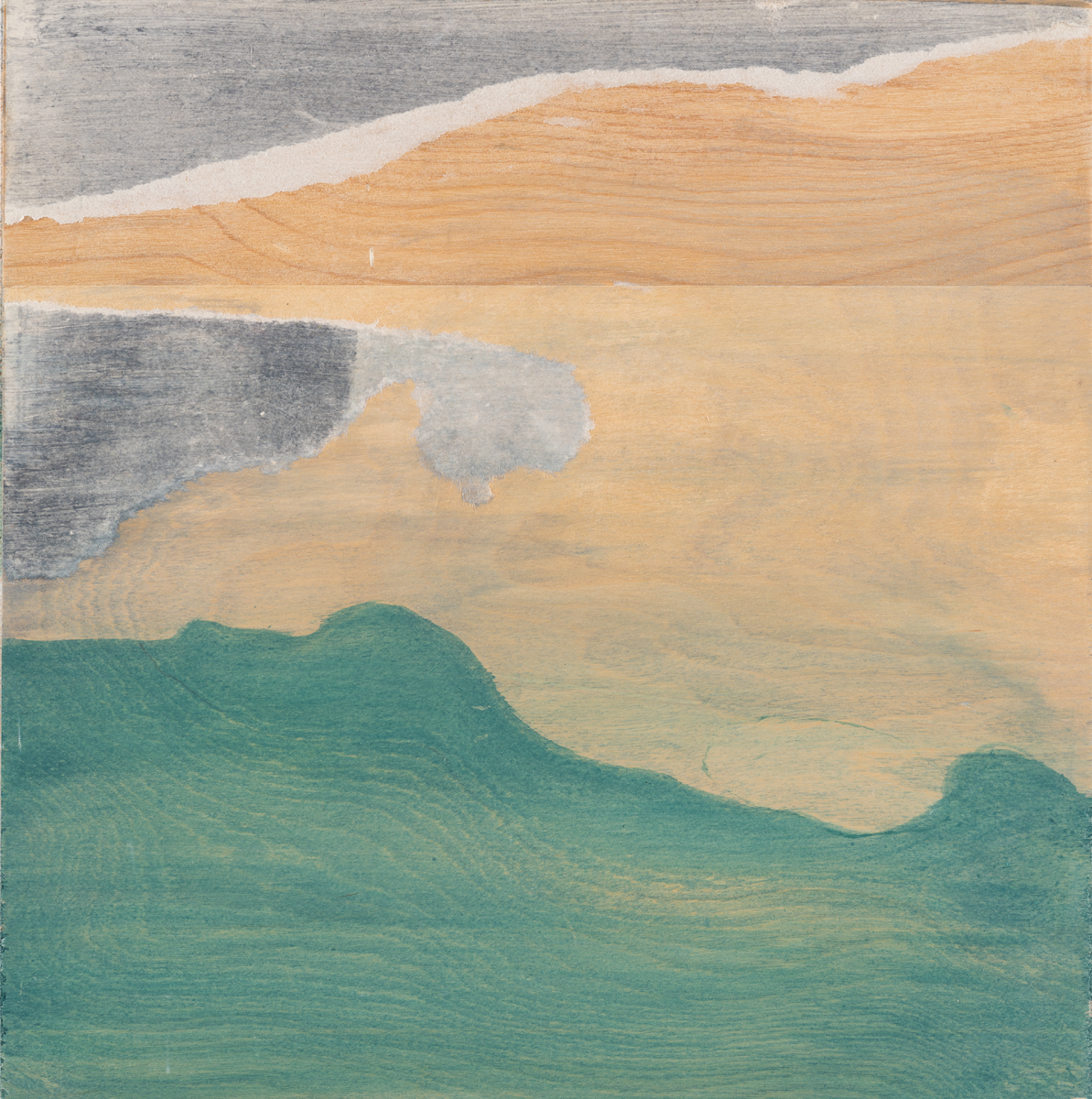"""Landscape with the sea , 2016. Acrylic on wood panel. 9-3/4""""x9-1/2"""""""