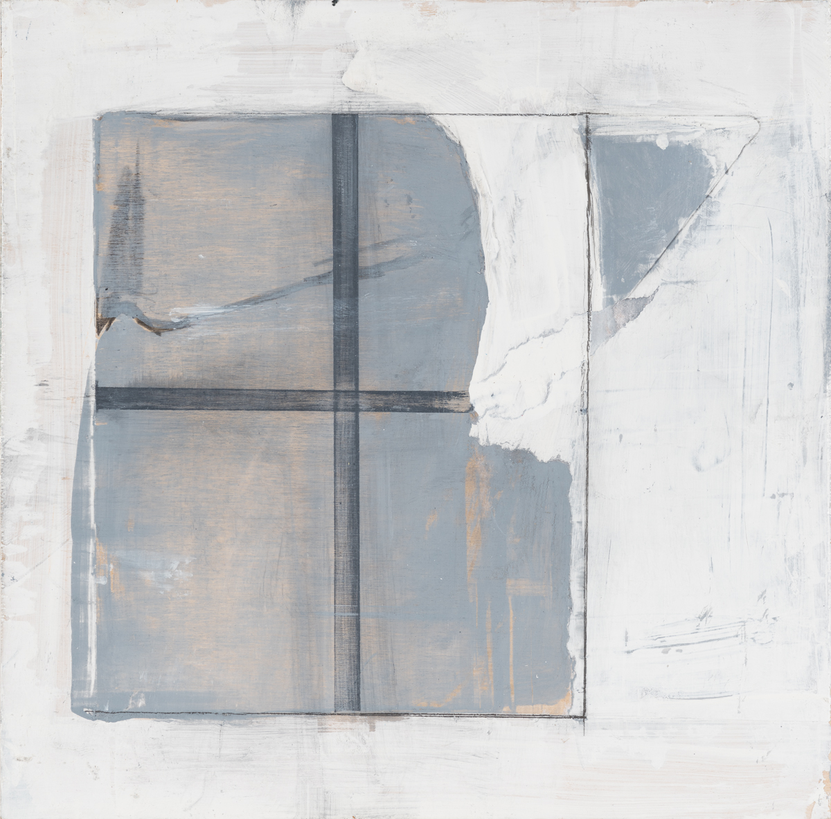 """Window with a torn shade , 2016. Acrylic and graphite on wood panel. 9-3/4""""x9-3/4"""""""