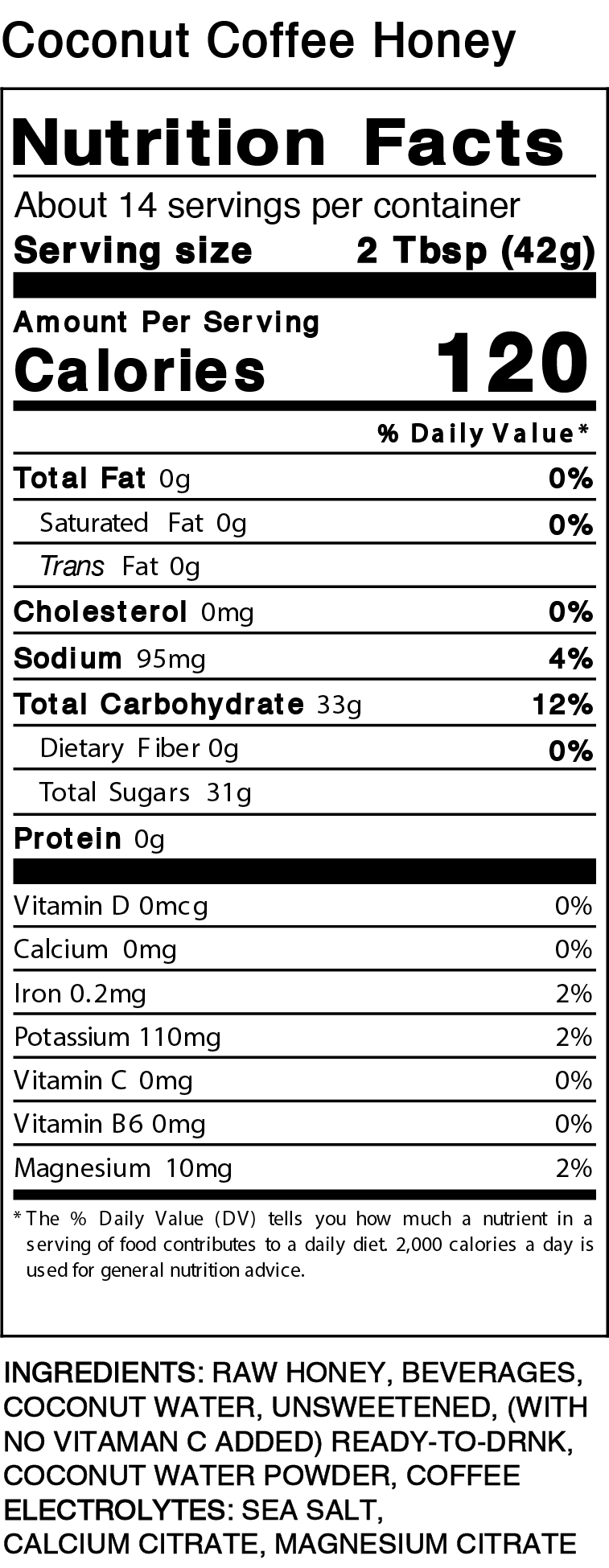 Coconut Coffee Pint Nutrition Facts