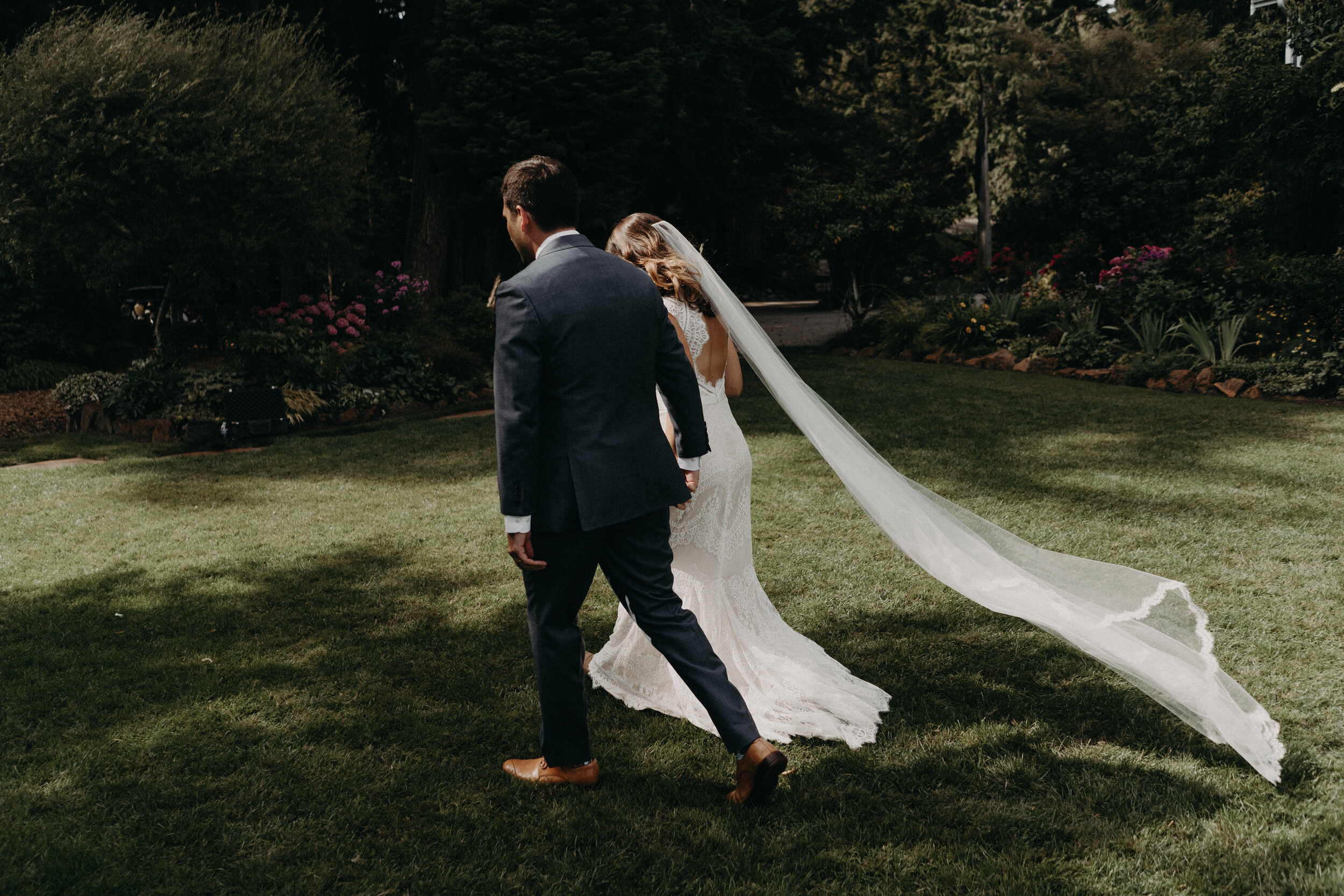 Emotional & Intimate wedding at Fireseed Catering, Whidbey Island - Hues of cool blue & warm green to celebrate Kristen + Brett on their wedding day!Venue: Fireseed Catering on Whidbey IslandDress: BHLDN