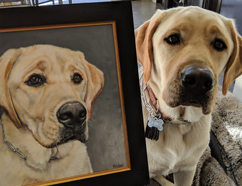 Somo and his portrait, in Los Angeles, CA