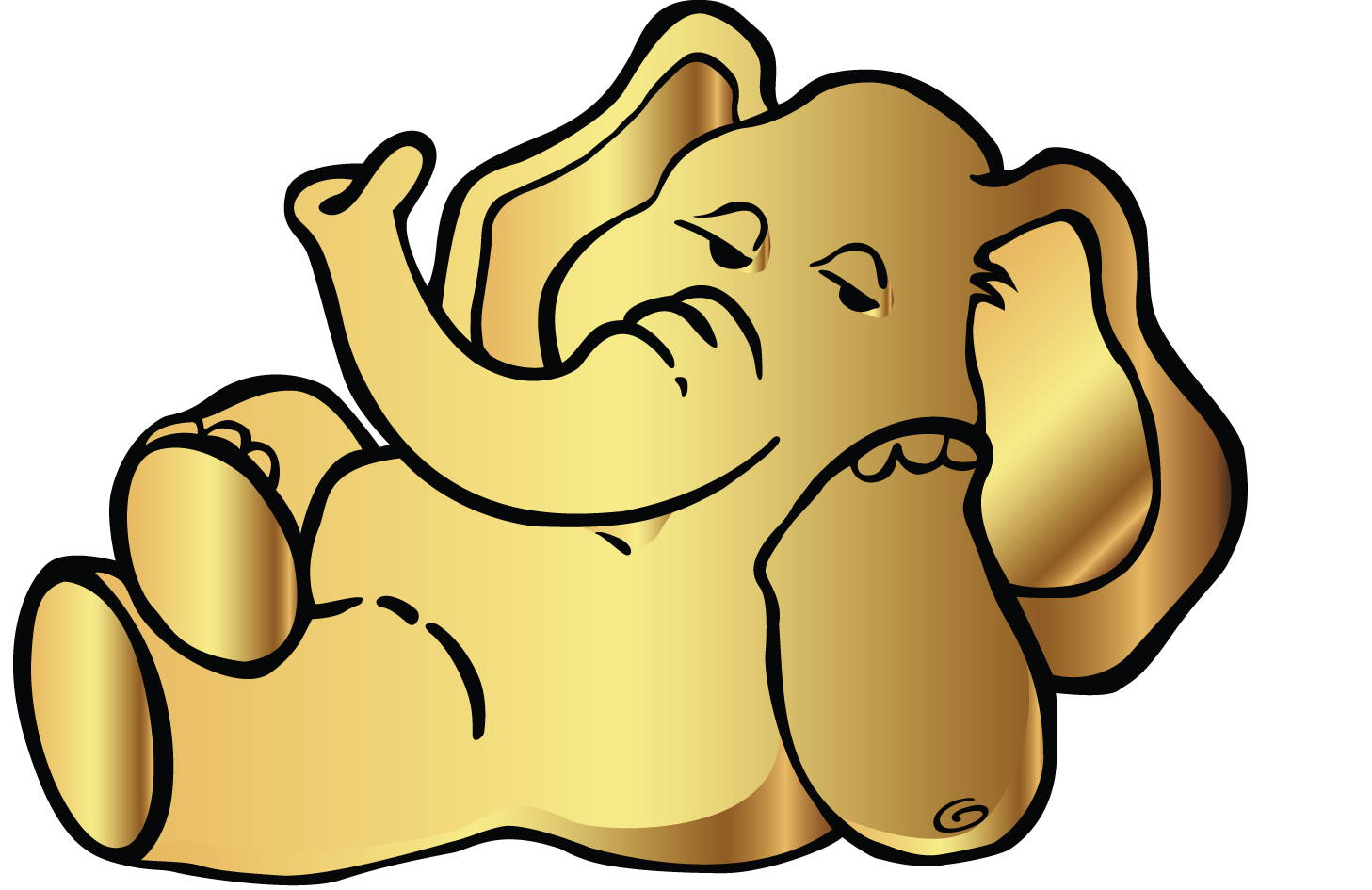 Golden Elephant Png : Yellow elephant artwork, golden elephant, mammal, golden frame, vertebrate png.