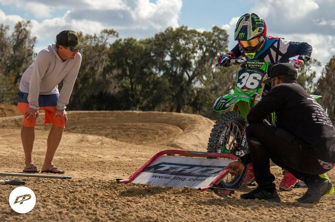 Another great shot showcasing Pro Circuit Monster Energy Kawasaki rider Adam Cianciarulo practicing starts for the upcoming 2017 Monster Energy Supercross series.