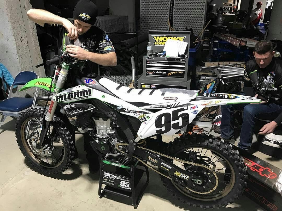 Jeremiah's attention to detail is second to none and the level of his work is evident in the amazing bike that he built for Aj Catanzaro this past Supercross season.  Jeremiah leaves no stone unturned and maintains this bike all season long ensuring perfection in his craft and handy work.