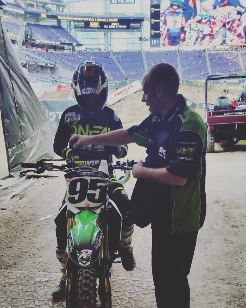 Regular changes and improvements throughout race day are extremely common at a Supercross race and Jeremiah knows his way around motorcycle set up.  Suspension adjustments are something that mechanics become very familiar with during the season.