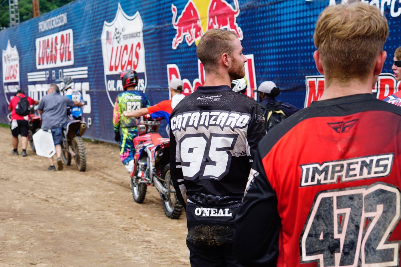 TCE SX rider AJ Catanzaro made an apparence at the Southwick National in front of his many hometown fans. AJ, an SX specialist, wanted to race the event to break up his schedule and sharpen some of his sand skills.