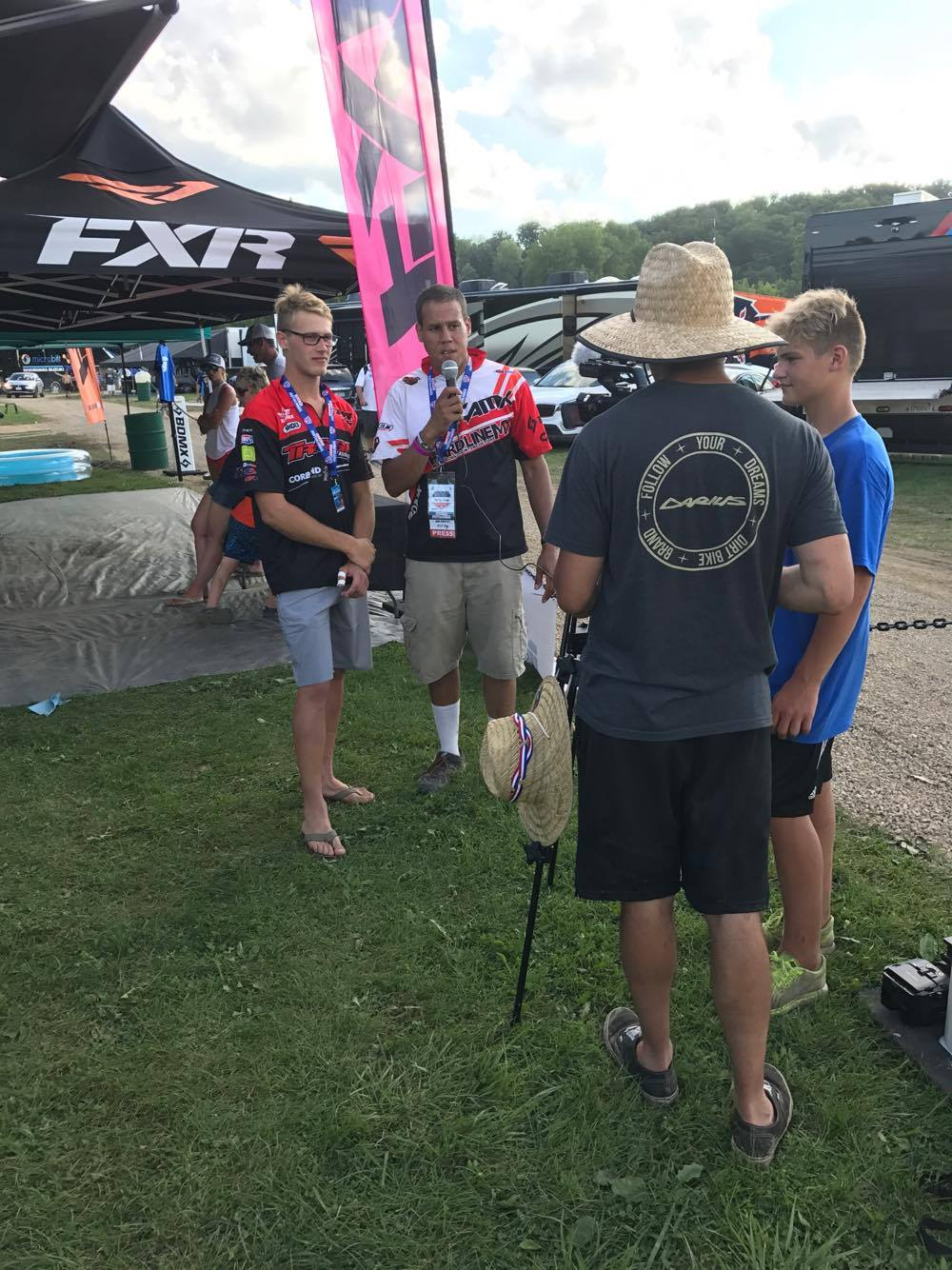 Interviewers were all over Henry all day looking for a chance to get to know the FXR and TCE team rider.