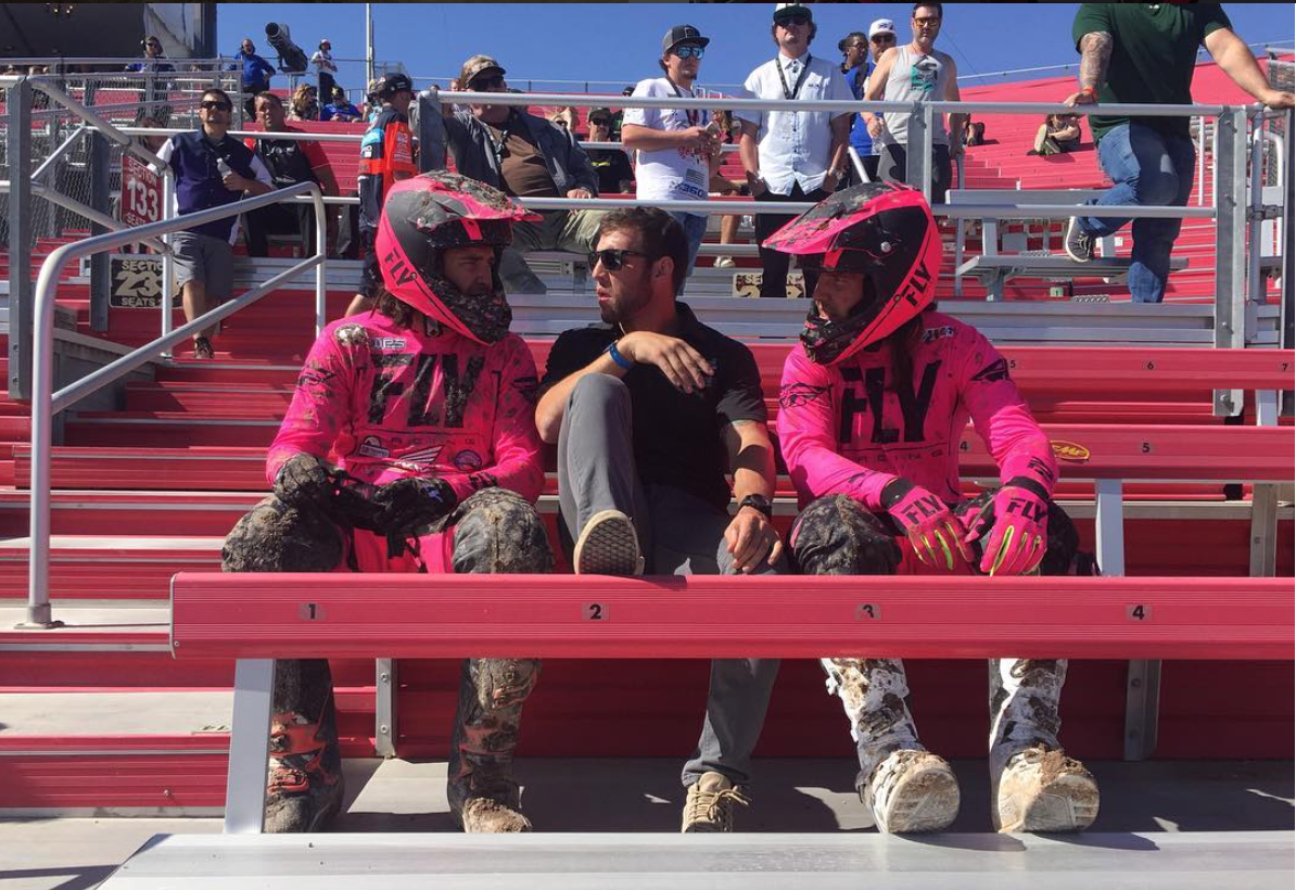 Taylor and the boys review race strategy and daily approach between practices at The Monster Energy Cup in Las Vegas. Taylor plays a crucial role in their program and continues to help these two riders reach their full potential.