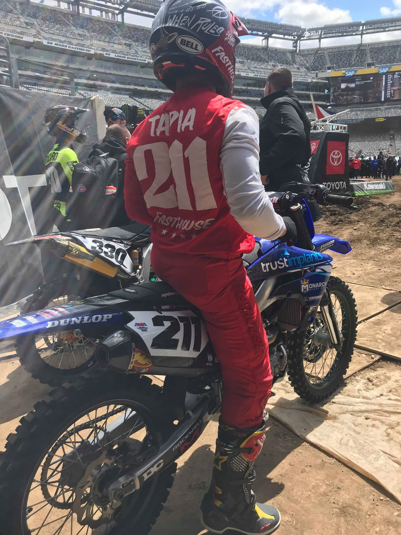 TCE rider Tevin Tapia sits in staging preparing for another early morning qualifying session in East Rutherford, NJ.