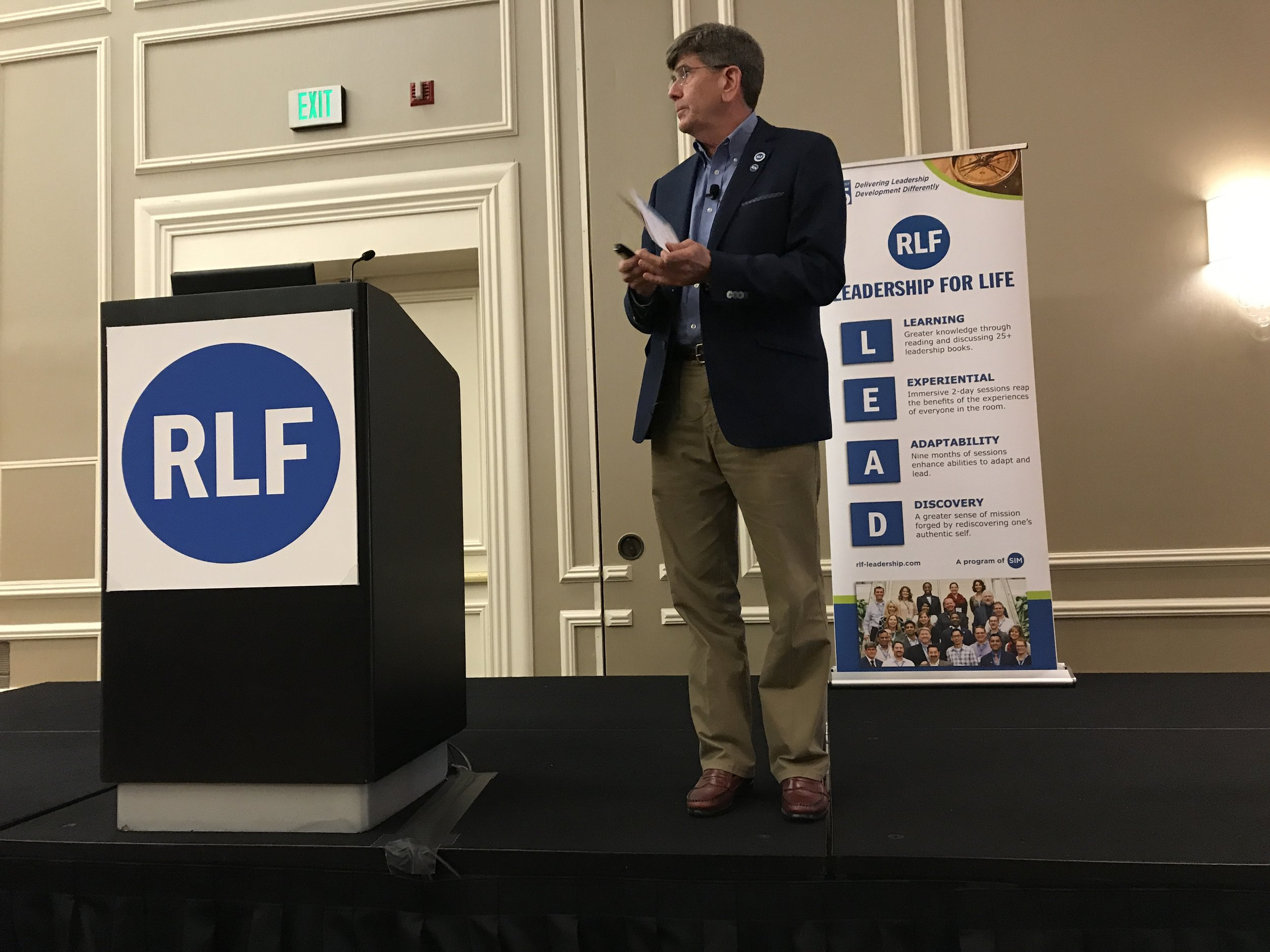 Kevin Ryan, RLF Director and Facilitator, served as master of ceremonies during the RLF Graduation Celebration for 2018 graduates on May 15, 2019.