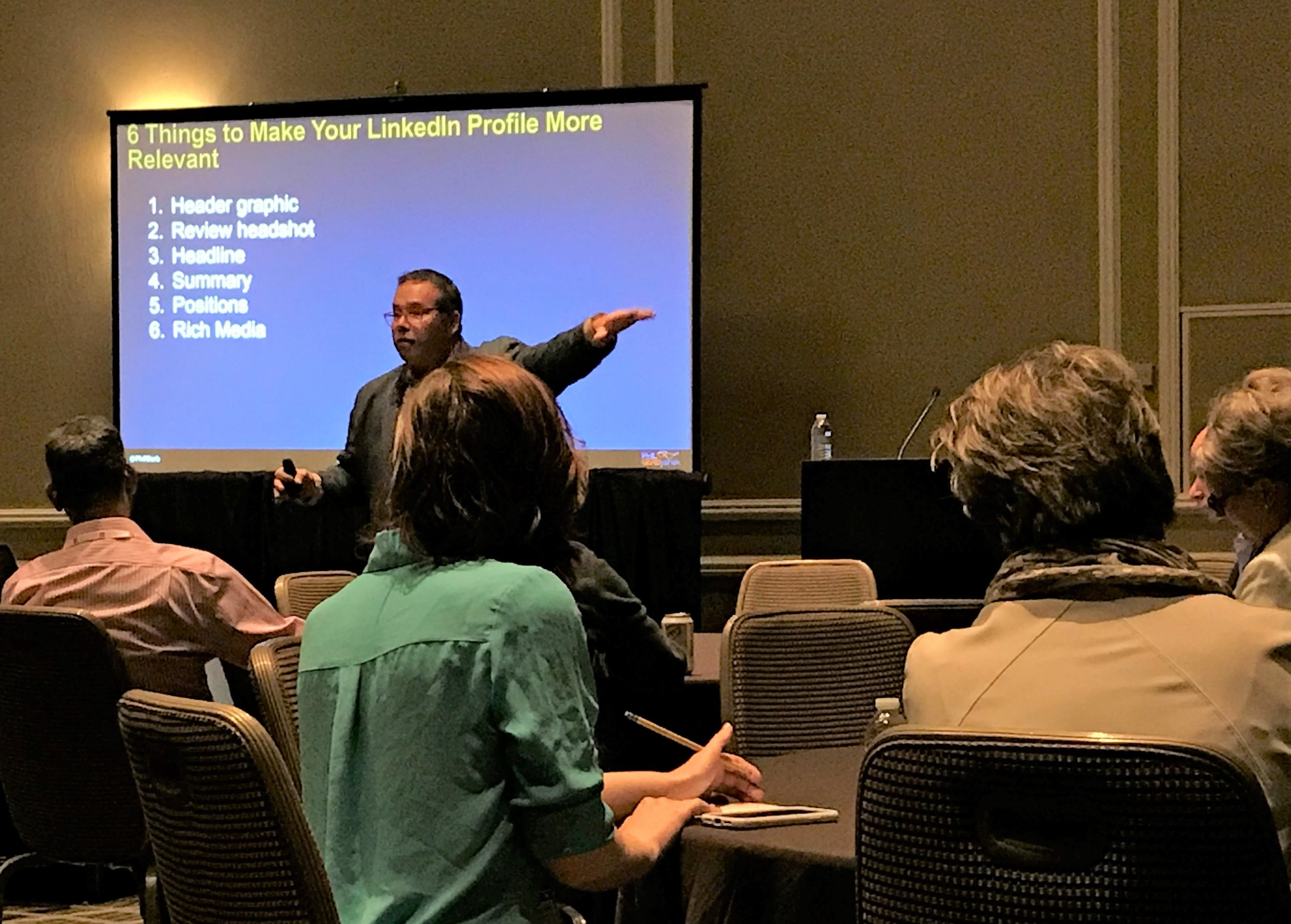 "Speaker Phil Gerbyshak shared suggestions for enhancing LinkedIn profiles and other social media usages during his presentation on ""Sharing Your Personal Brand Through Social Media"" at SIM Connect Live on May 16, 2019."