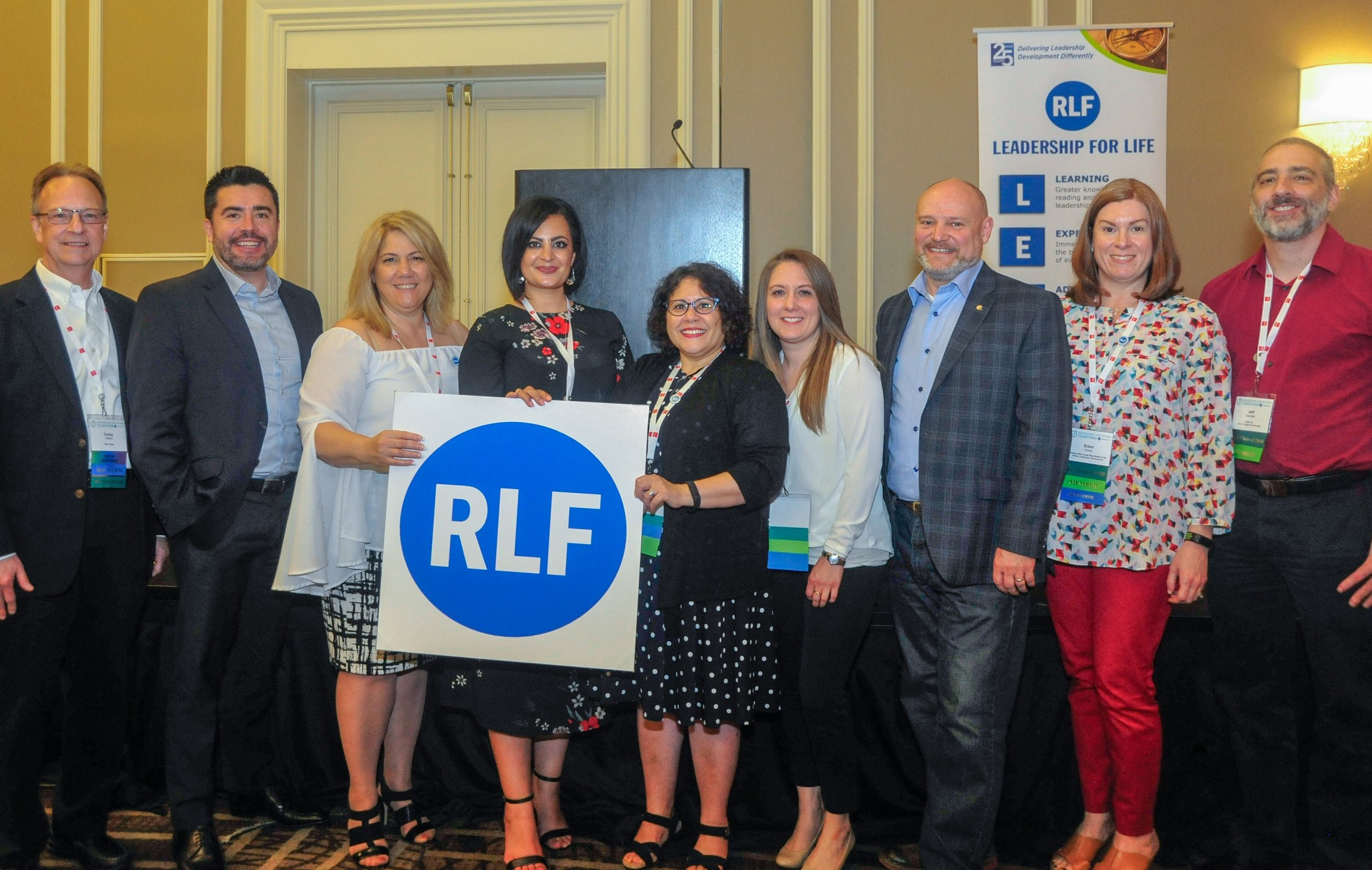 Every 2018 RLF program gathered for group photos after the RLF Graduation Celebration during SIM Connect Live in Orlando on May 15, 2019. Above, graduates and facilitators of the 2018 New York Metro program share their pride in their forum.