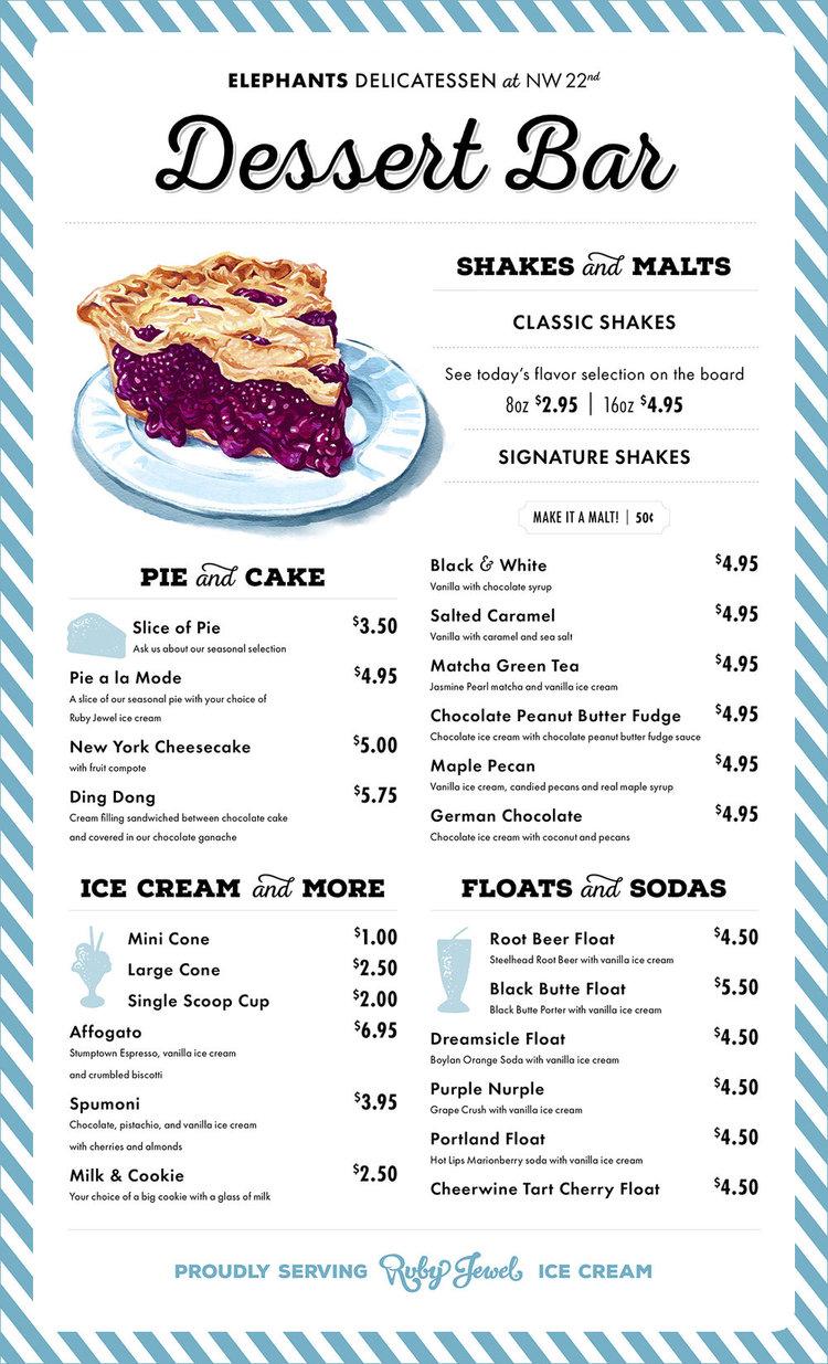Dessert Bar Menu Design