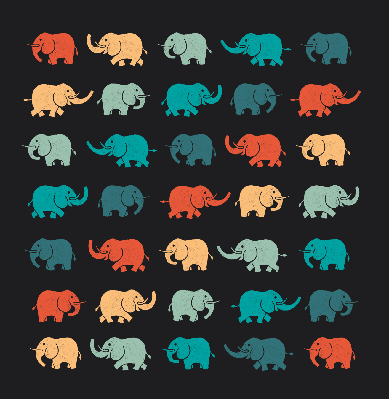 Elephant logo variation pattern