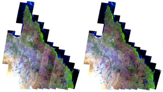 Sensor reflectance of Landsat imagery before bi-directional correction (left). Sensor reflectance after correction to nadir view and 45 degree sun elevation (right).