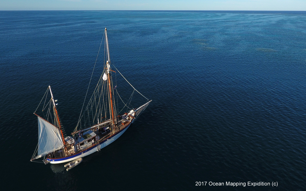 Once arriving at the reef, the Fleur de Passion would drop anchor and with the small tender field data would be collected over the reef top. This idyllic picture was taken on possible the only day with lest then 15-20 knot winds in 20 days.