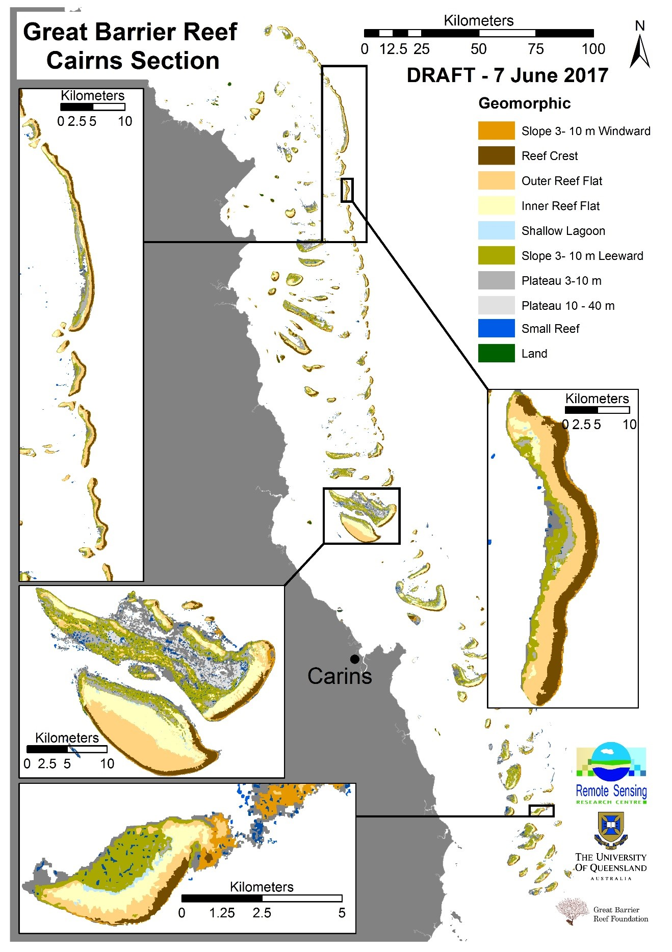 Draft of the geomorphic zonation mapped of 200 reefs, using remote sensing imagery, object based image analysis, field knowledge and geo-ecological based rule sets.