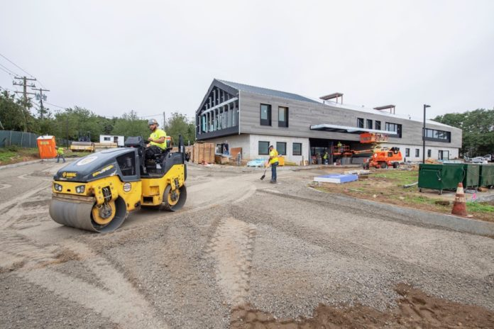 Work is ongoing at the new Stony Brook Southampton Hospital Phillips Family Cancer Center on County Road 39 in Southampton (Michael Heller photo).