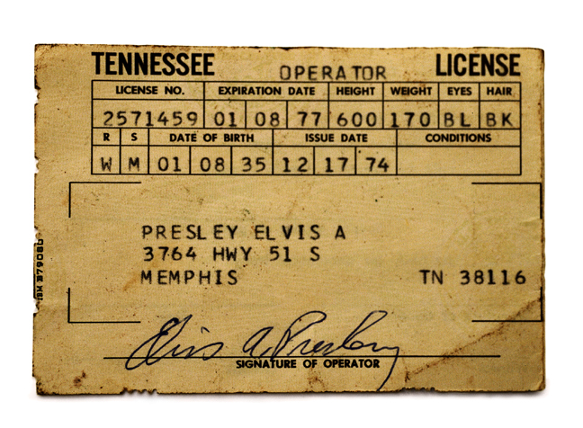 Elvis's Tennessee Drivers Licence, 2003