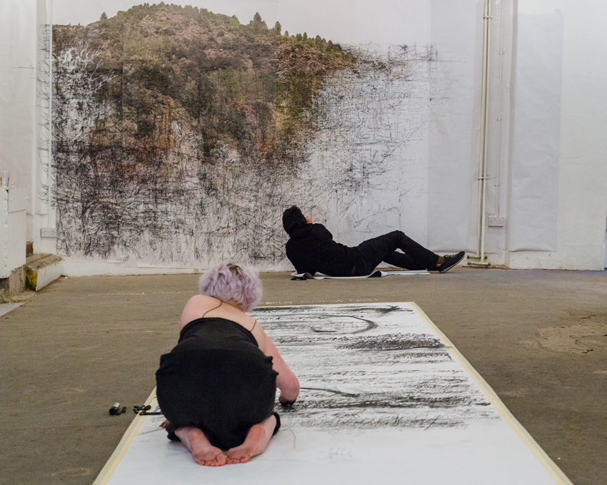 Holly Victoria Matthews and Bertrand Flachot at  Draw to Perform 2  2015 (performance photograph)