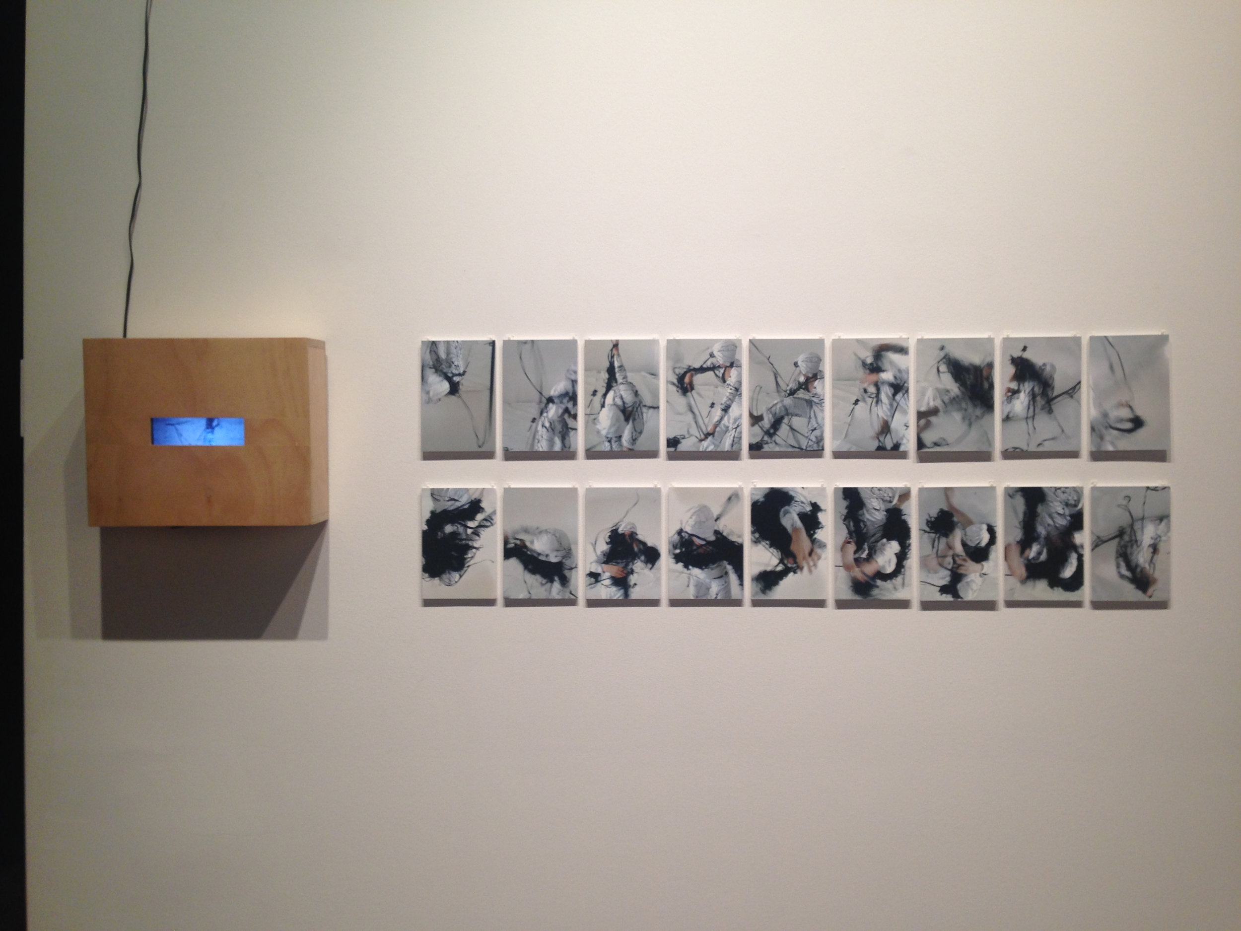Nicci Haynes  Body language 1, 2,  (installation view)2013, Photo–collage and drypoint etching on paper x 18, ea. 17 cm x 22 cm.