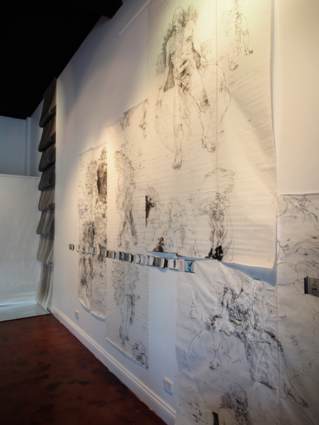 Bill Platz Big  Yawn—Urizen's Beard  (installation view)2015, Ink and thread on rice paper, dimensions variable.