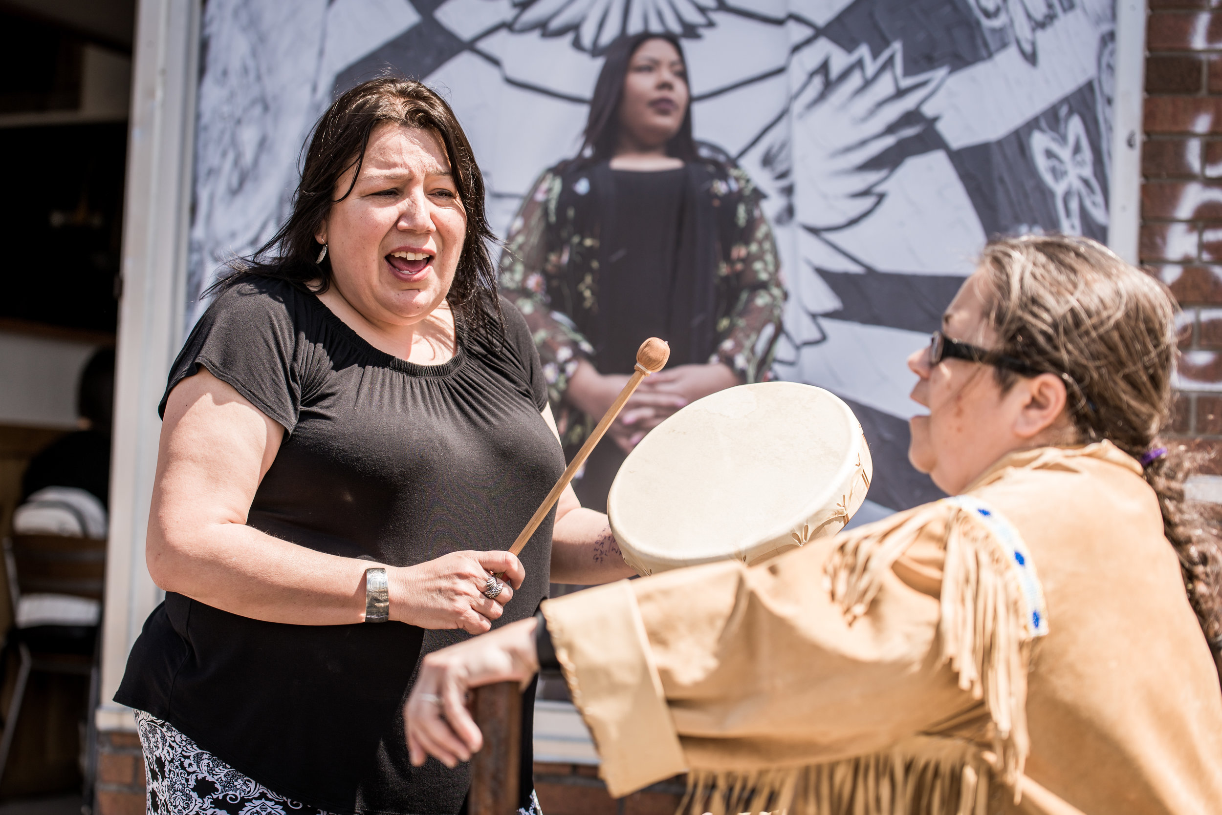 Crystal Sinclair, seen here with her hand drum, is an Indigenous Rights Activist with Idle No More Toronto, public speaker and artist.  PHOTO: Ben Marans