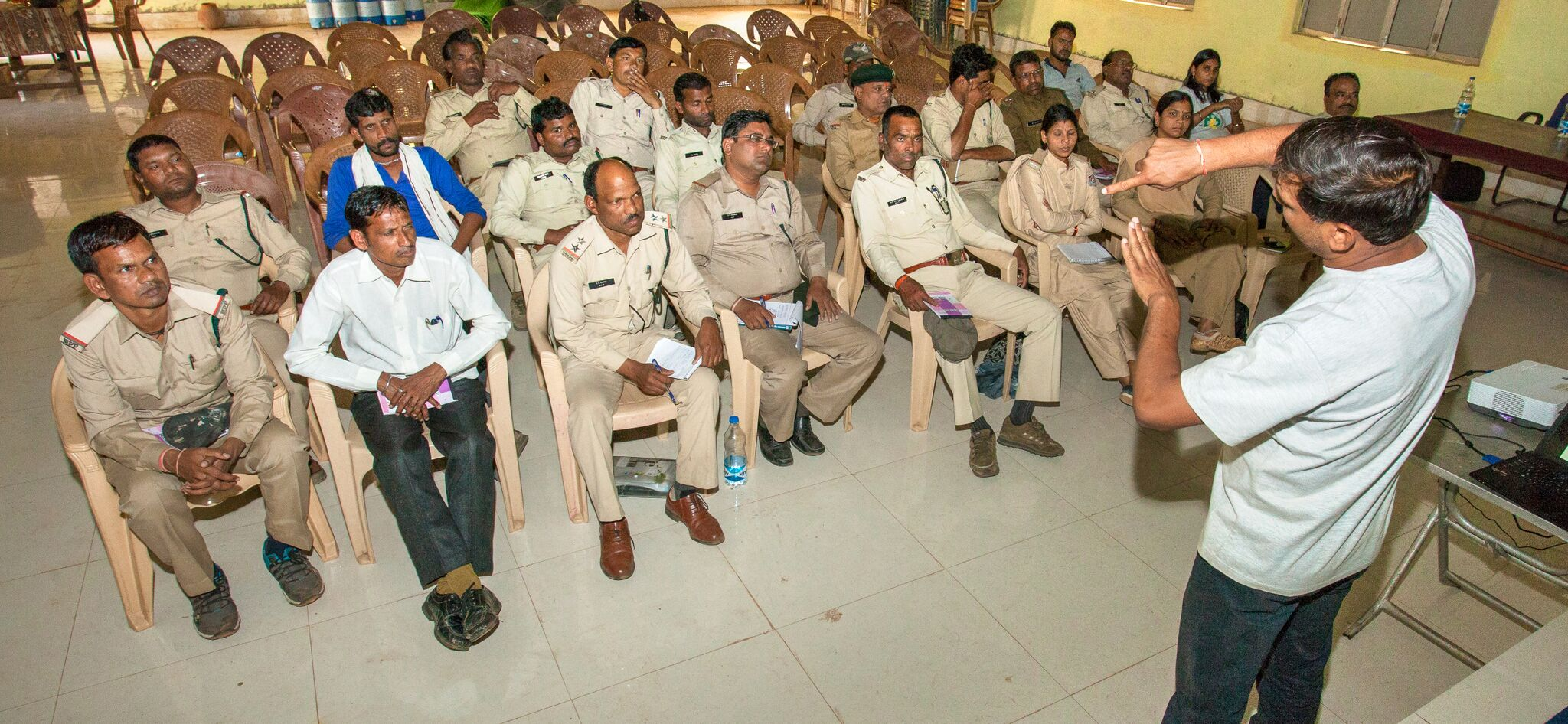 Forest guard training focus on wildlife preservation.