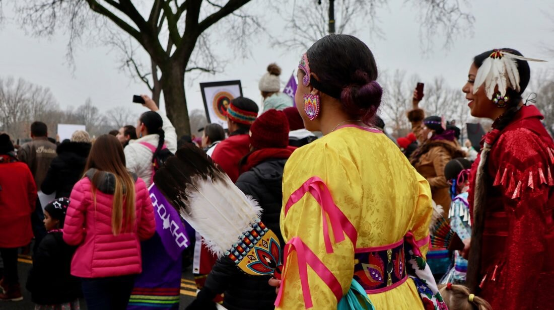 Jingle dress dancers marching in Washington D.C. as part of the first annual Indigenous Peoples March.