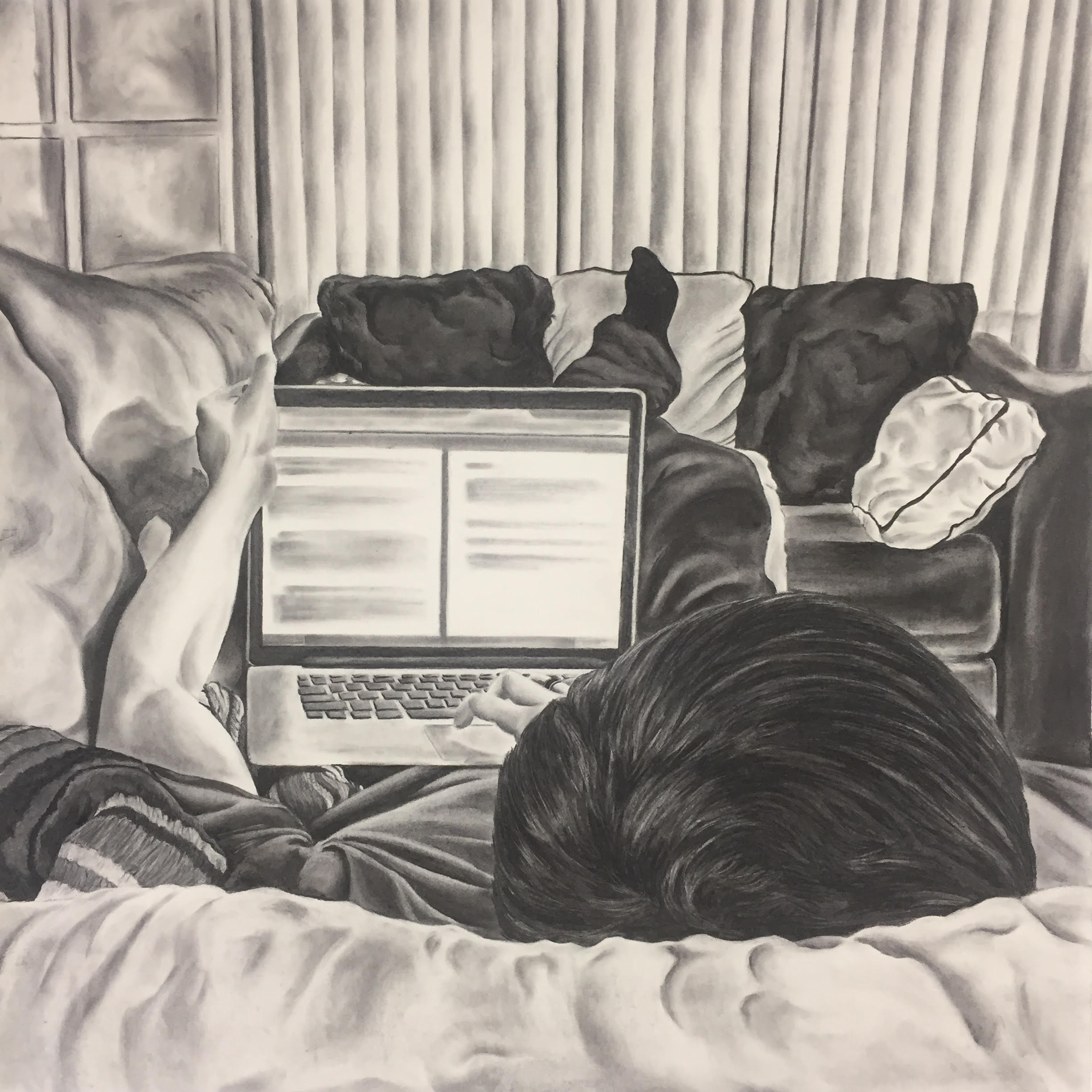El Chico del Apartamento 202, 2019, charcoal on paper, 36x36""
