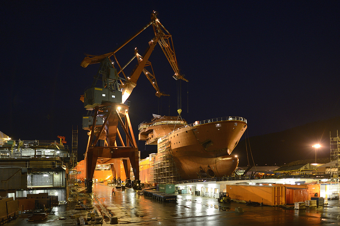 SS Nujoma during building process at Kleven Verft, December 2015  Photo: Olav Thokle
