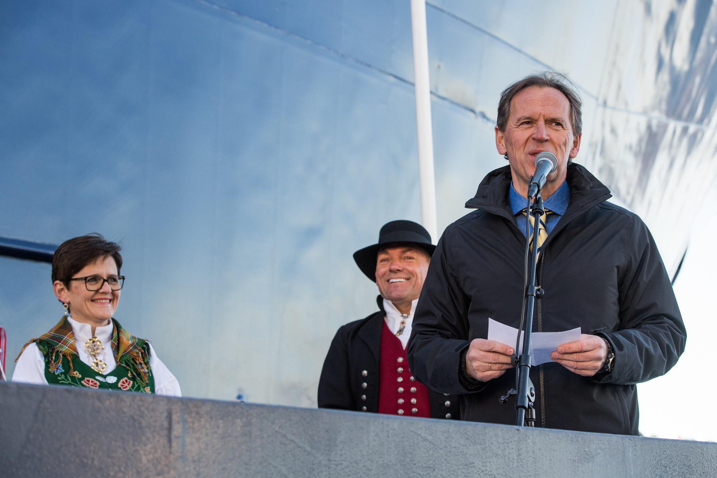 From left: Lady Sponsor Lisbeth Berg-Hansen, CEO of Sølvtrans Roger Halsebakk and CEO of Kleven Yard Ståle Rasmussen.