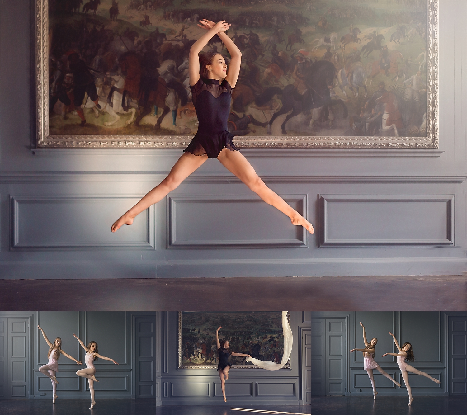 Ballet jumps synchronised