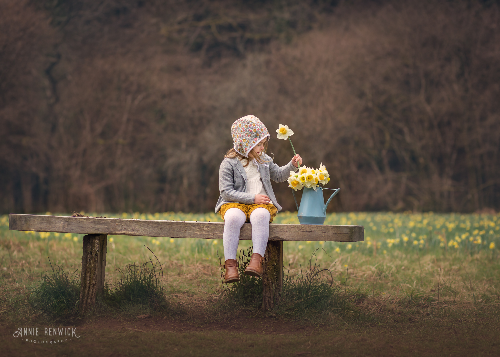 girl with daffodils dunsford devon