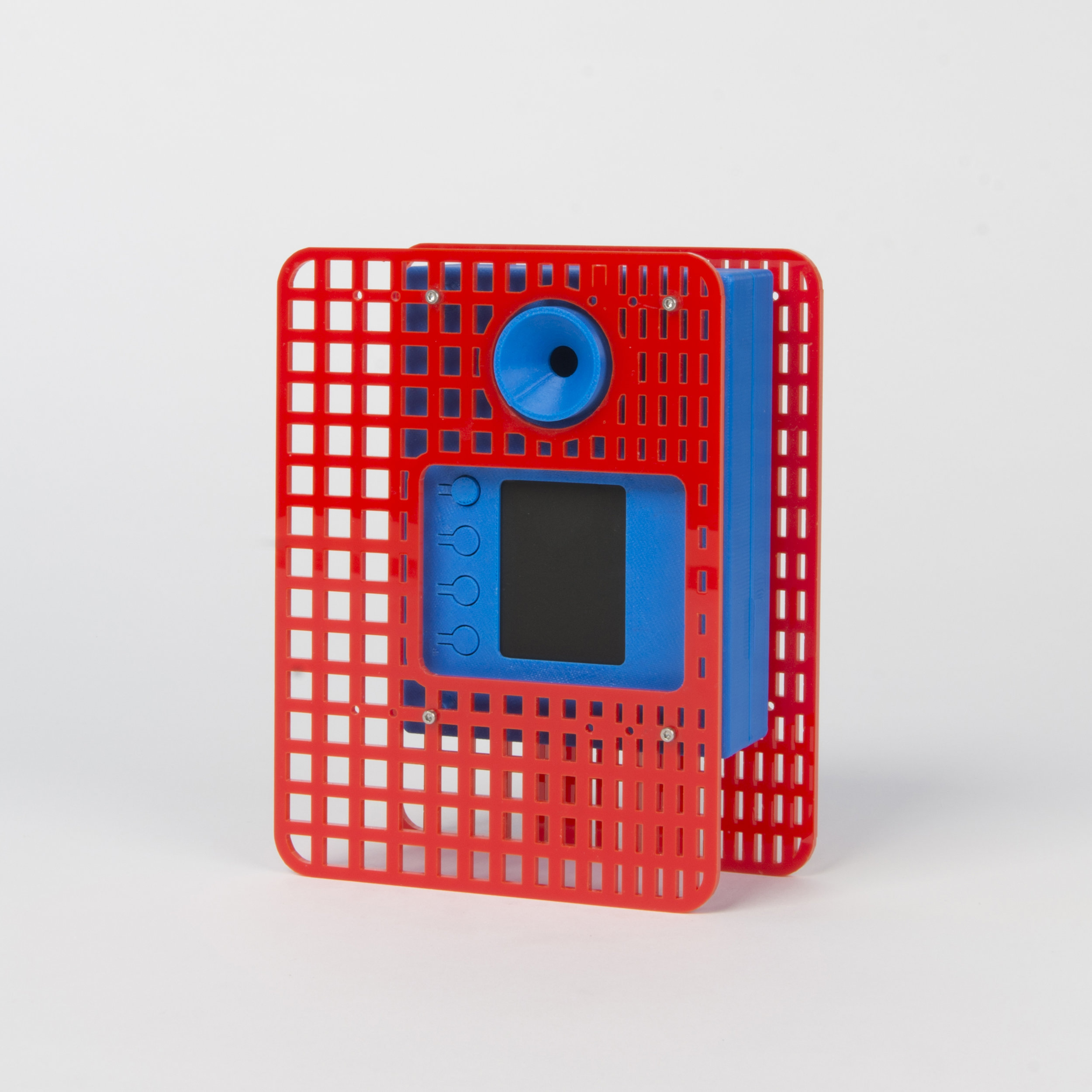 Selfie Camera with Lasercut Attachments    Following on from the Lasercut Attachment Camera, this camera sees that adoption of the selfie format favoured in final designs of VisionCam..  more