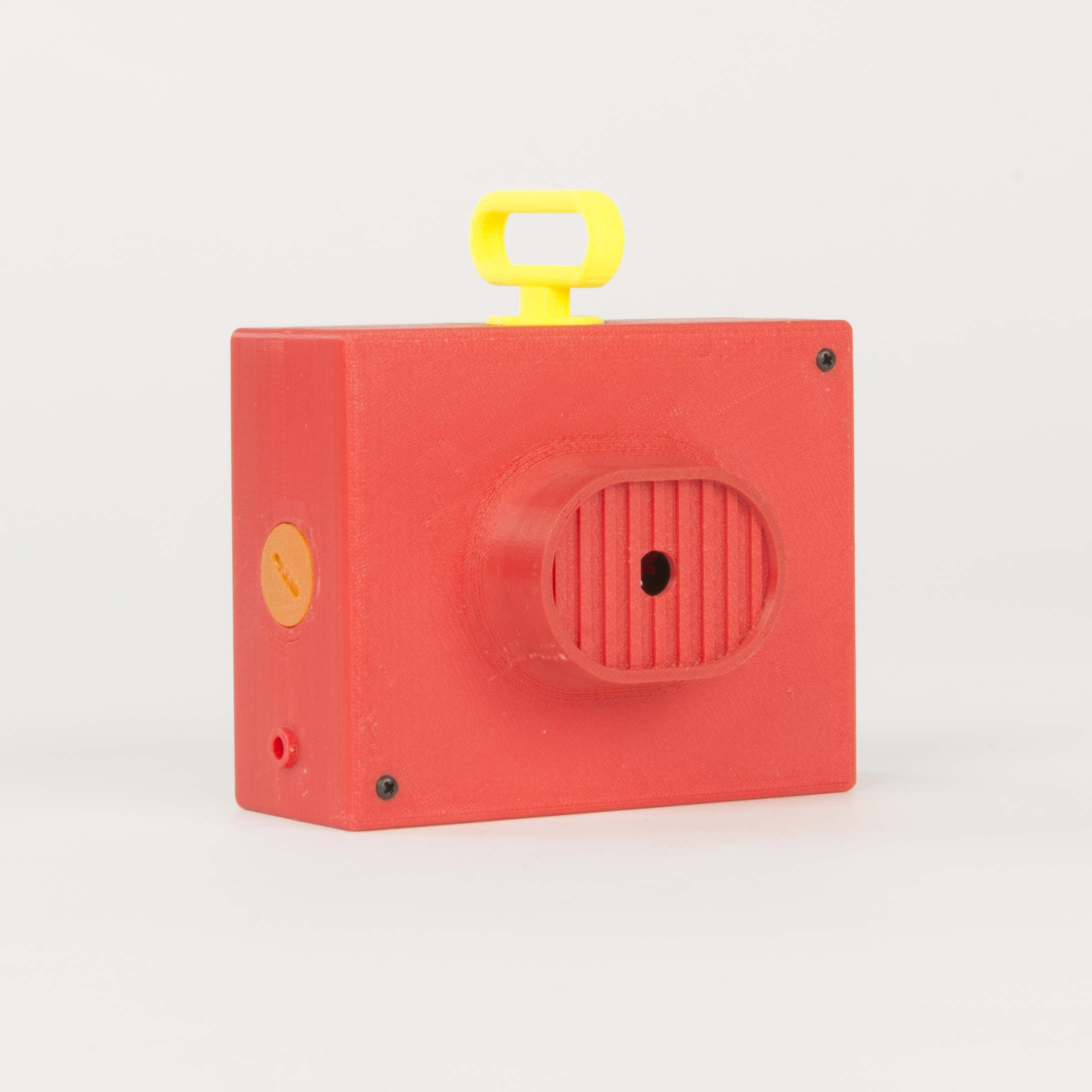 Extruded Lens Camera    Structurally similar to the Threaded Case Camera, this housing makes a feature on the lens body and has four threaded sockets that allow a number of accessories to be attached.  more