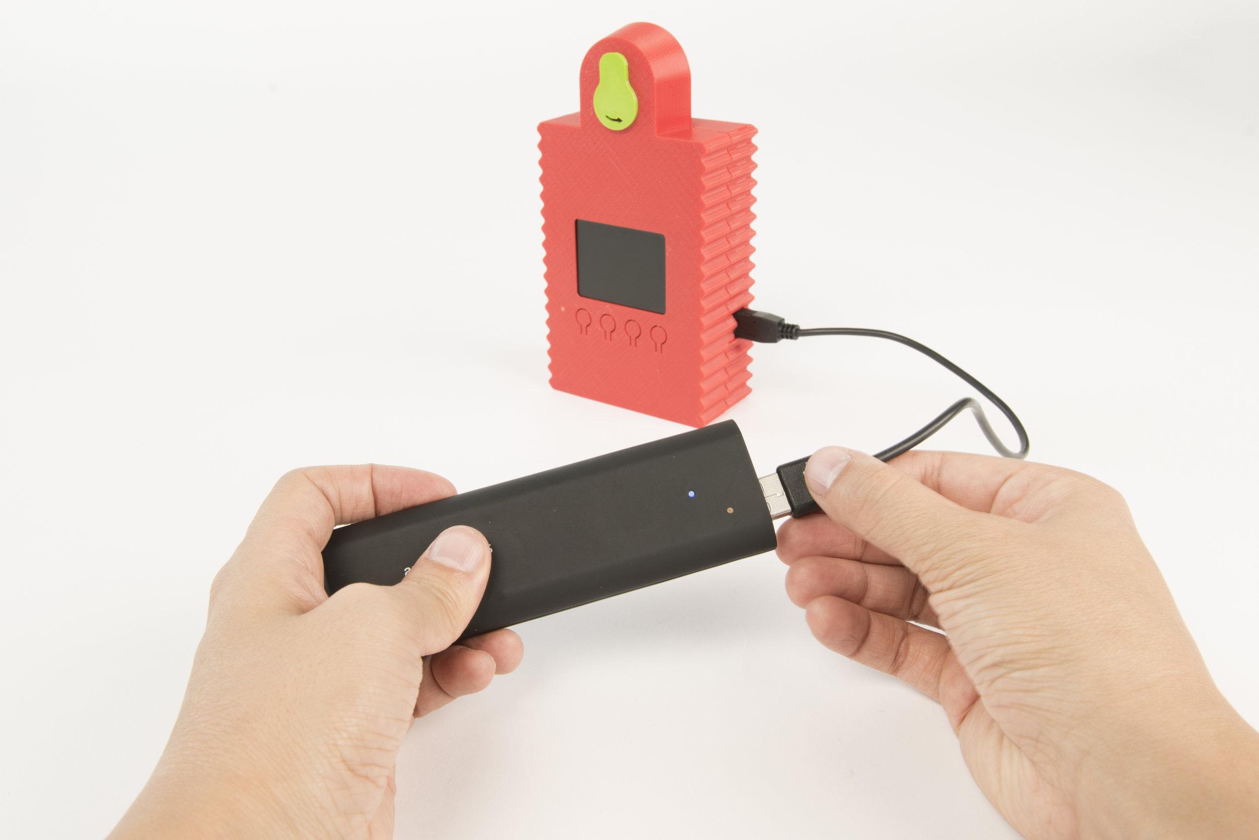 Step 14 Attach an external USB battery (or USB mains charger).