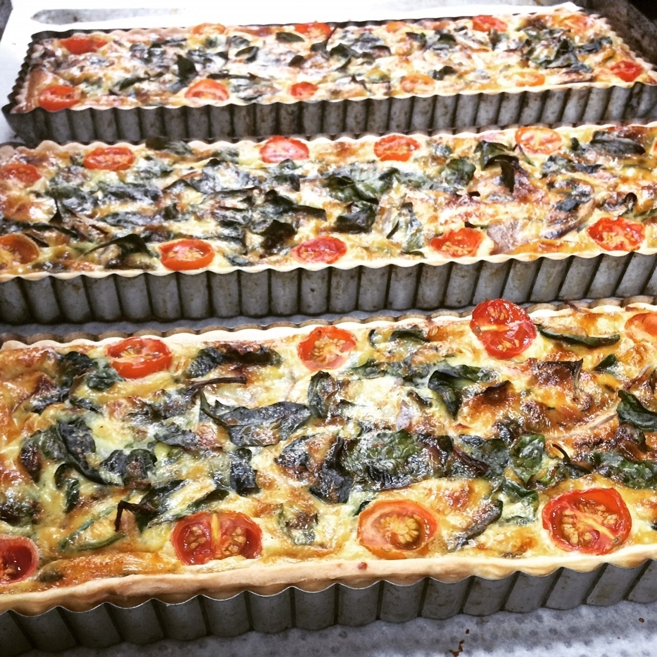 Spinach,Fetta & Tomato Tarts & Quiches   Retail- Large family sized tarts & Quiche twin packs  Cafe/Deli- Individual Quiches