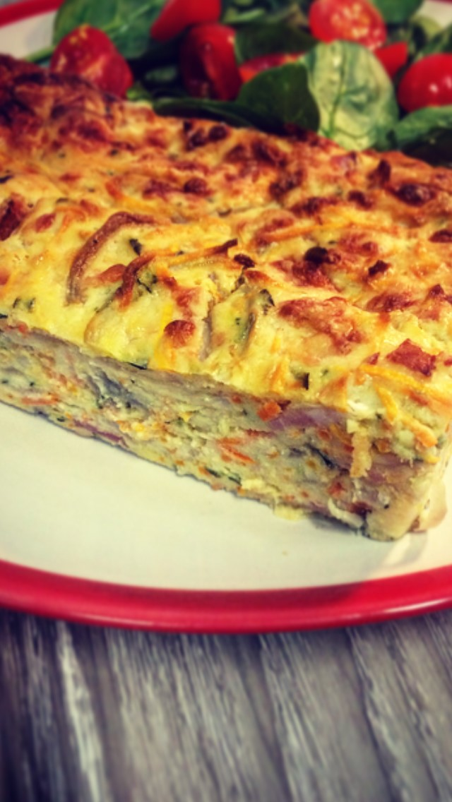 Bacon and Zucchini Slice.     Retail -Grab'n Go portions (pic)  Cafe/Deli -Wholesale size 1.8kg's