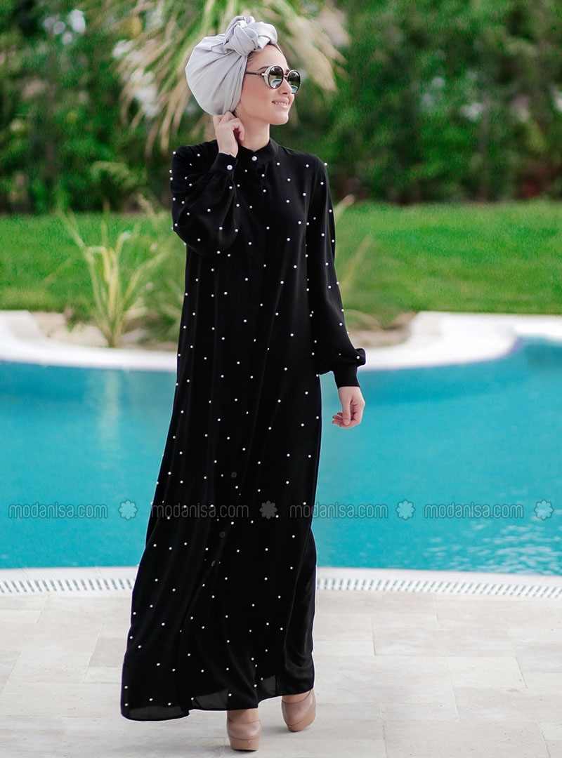 Black Pearly Abaya by Minel Ask