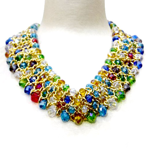 Multi-coloured beaded necklace