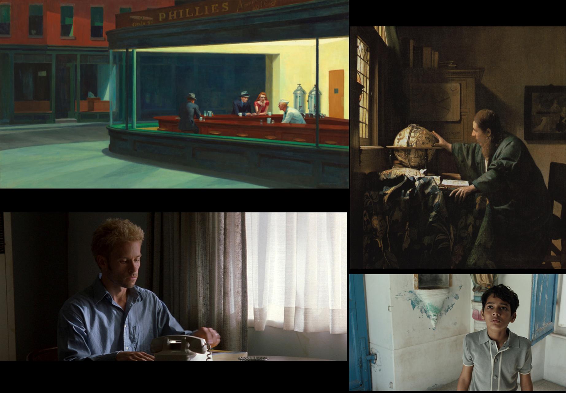'Nighthawks' (1942), Edward Hopper 'De astronoom' (1668), Johannes Vermeer 'Memento' (2000), d. Christopher Nolan, DP: Wally Pfister, Panavision 35mm CS 1:2.35 'Life of Pi' (2012), d. Ang Lee, DP: Claudio Miranda, Alexa Arriraw, Master 2K