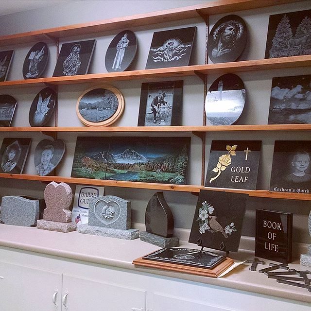 Our etching display in the office #laseretching #display #samples #granite #cochransinc
