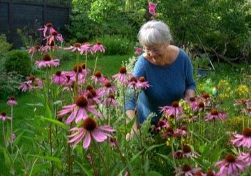 Lotte (Charlotte) Felix i hagen sin